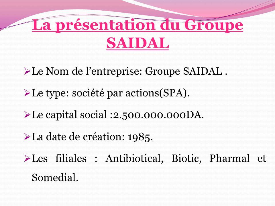 La présentation du Groupe SAIDAL