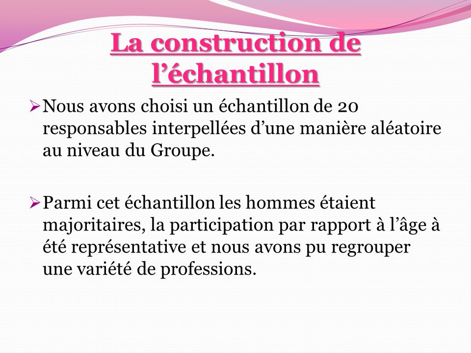 La construction de l'échantillon