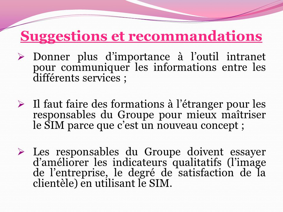 Suggestions et recommandations