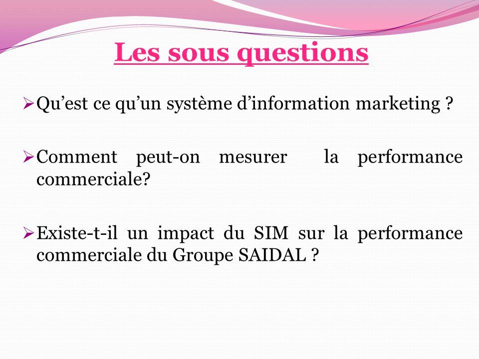 Les sous questions Qu'est ce qu'un système d'information marketing