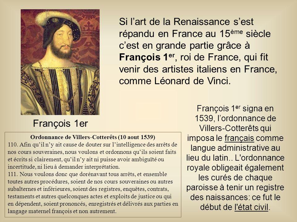 Ordonnance de Villers-Cotterêts (10 aout 1539)