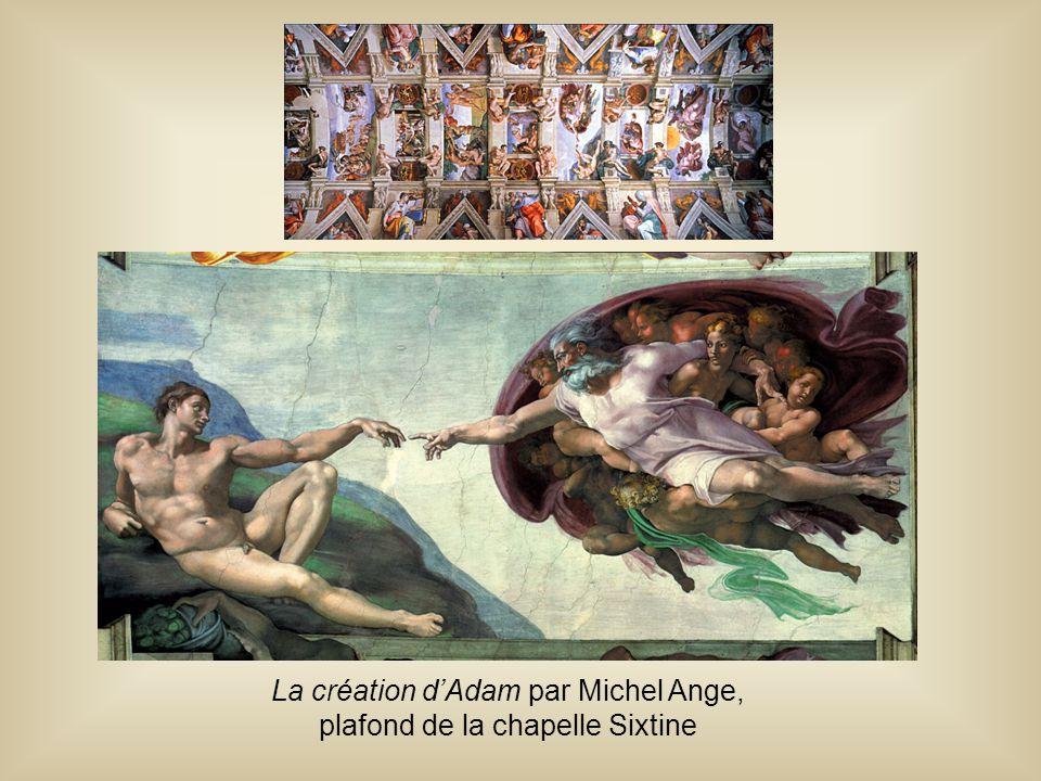 La création d'Adam par Michel Ange, plafond de la chapelle Sixtine