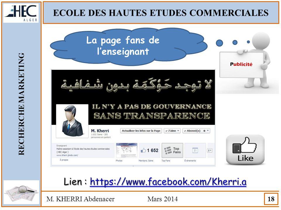 ECOLE DES HAUTES ETUDES COMMERCIALES La page fans de l'enseignant