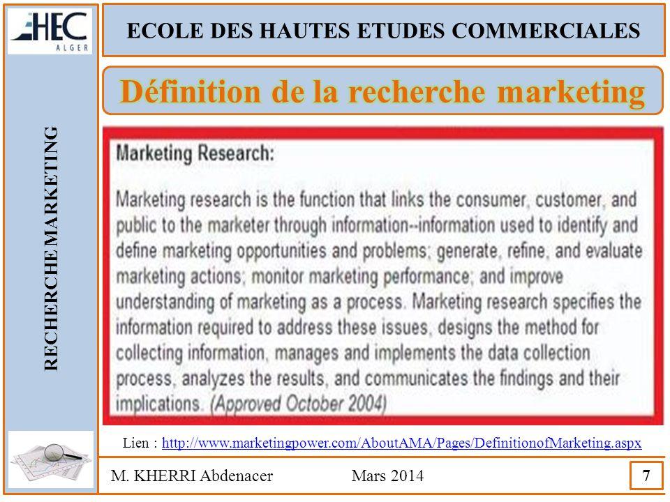 Définition de la recherche marketing