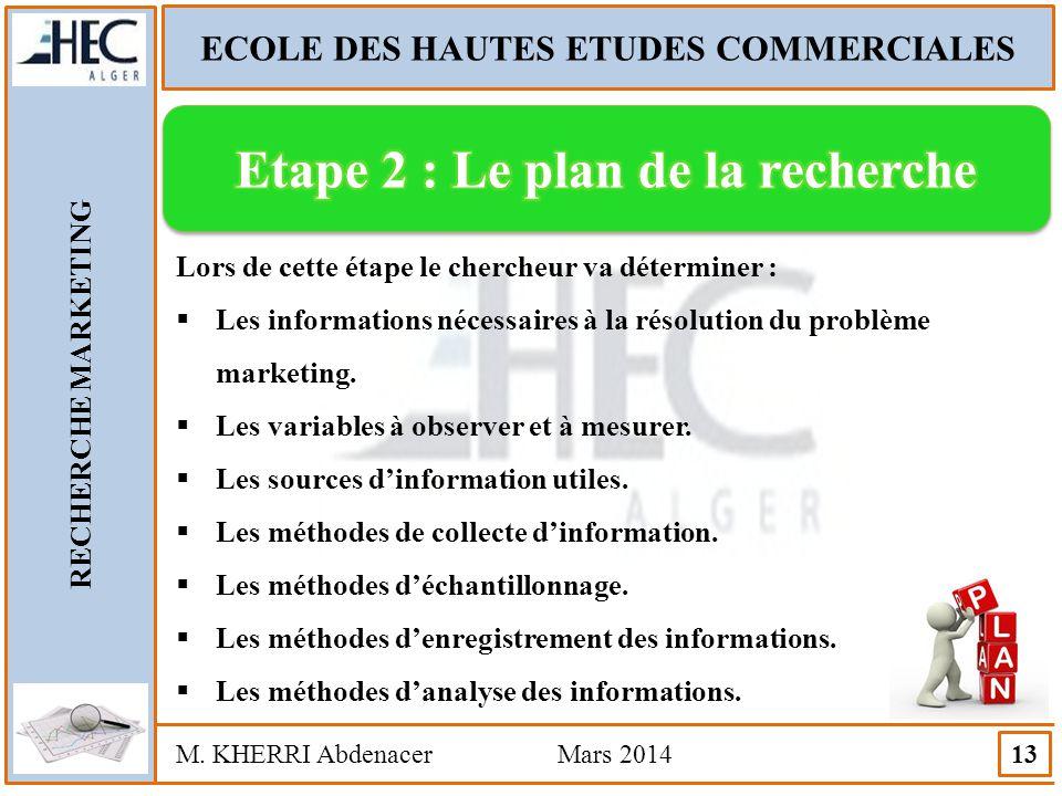 ECOLE DES HAUTES ETUDES COMMERCIALES Etape 2 : Le plan de la recherche
