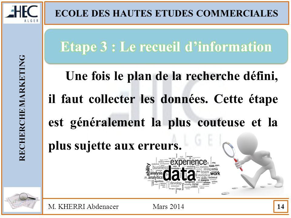 Etape 3 : Le recueil d'information