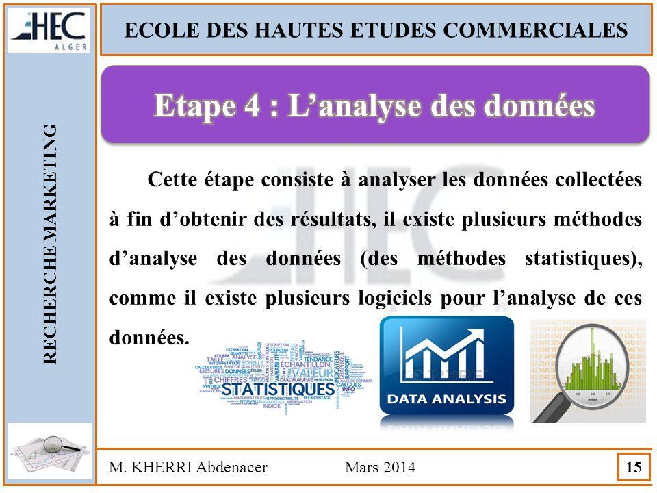 ECOLE DES HAUTES ETUDES COMMERCIALES Etape 4 : L'analyse des données