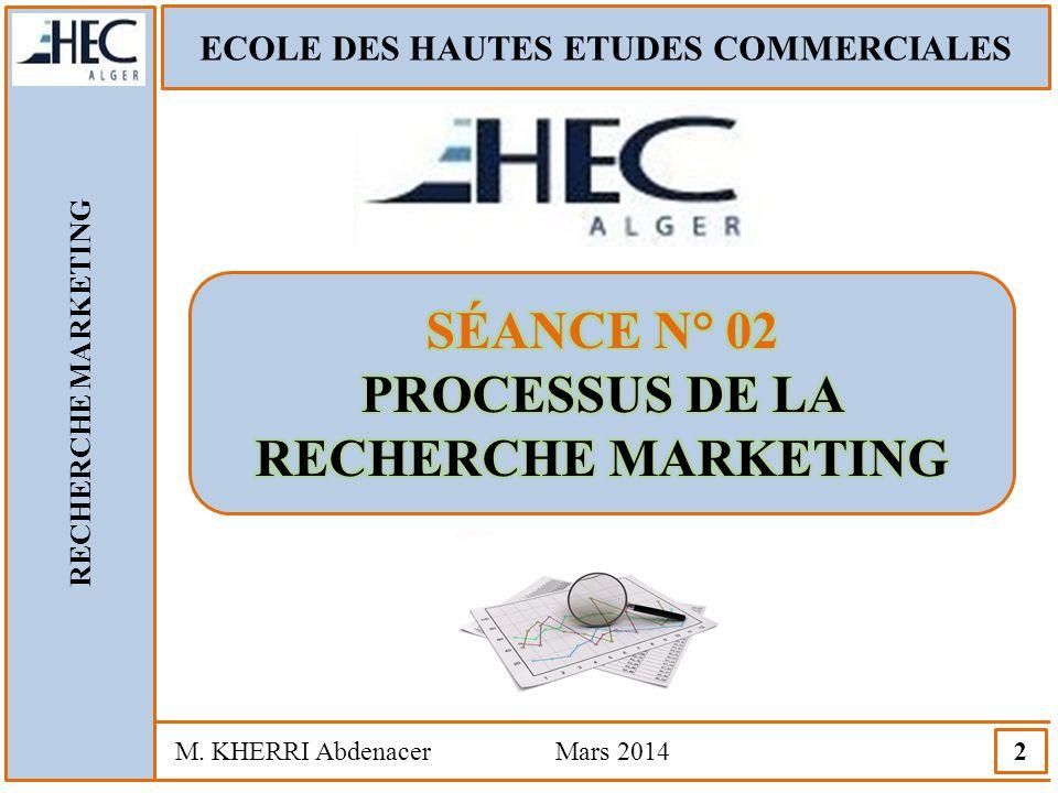 SÉANCE N° 02 PROCESSUS DE LA RECHERCHE MARKETING