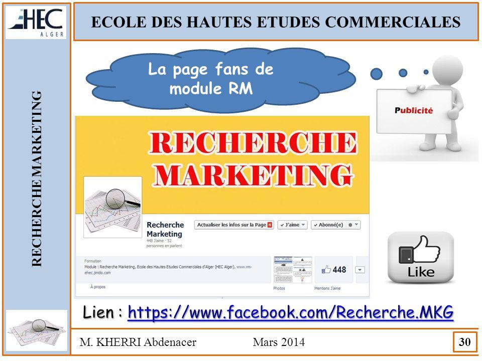 ECOLE DES HAUTES ETUDES COMMERCIALES La page fans de module RM