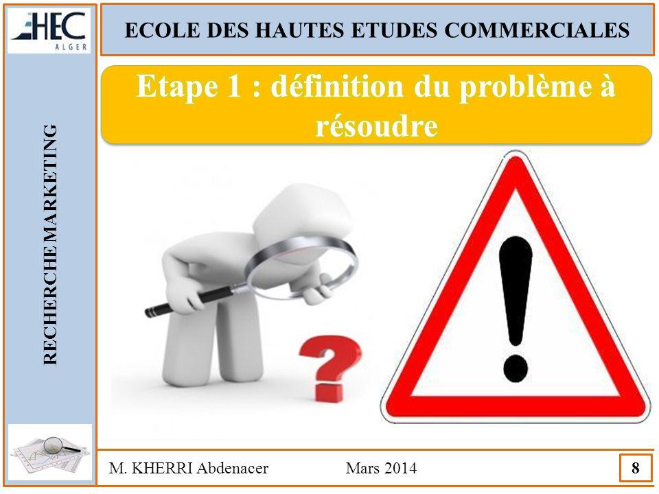 Etape 1 : définition du problème à résoudre