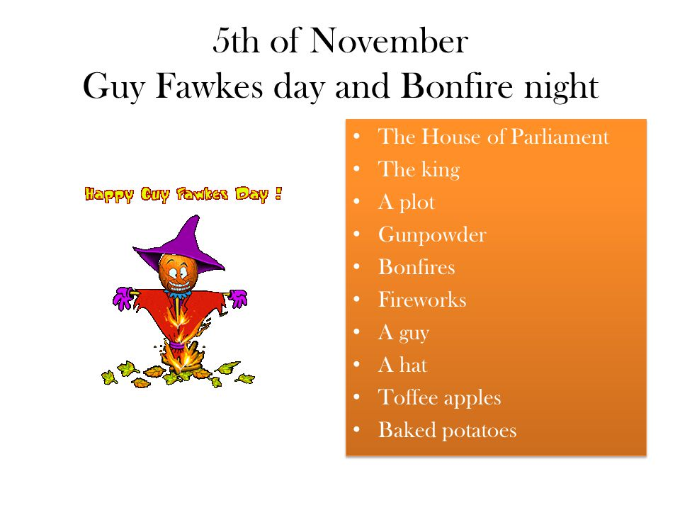 5th of November Guy Fawkes day and Bonfire night