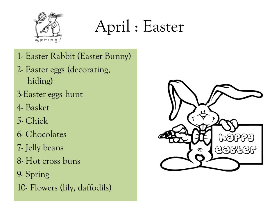 April : Easter 1- Easter Rabbit (Easter Bunny)