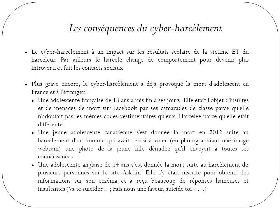 Les conséquences du cyber-harcèlement