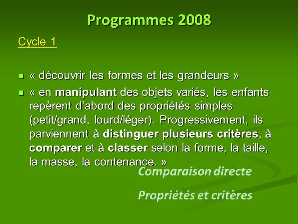 Programmes 2008 Comparaison directe Propriétés et critères Cycle 1