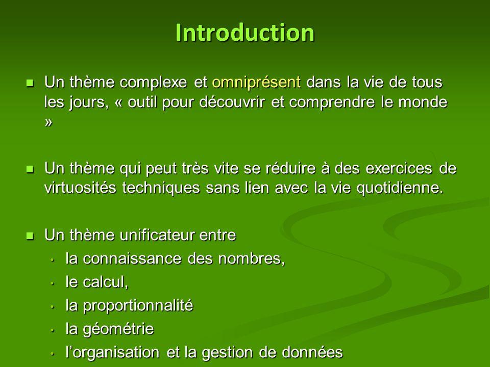 Introduction Un thème complexe et omniprésent dans la vie de tous les jours, « outil pour découvrir et comprendre le monde »