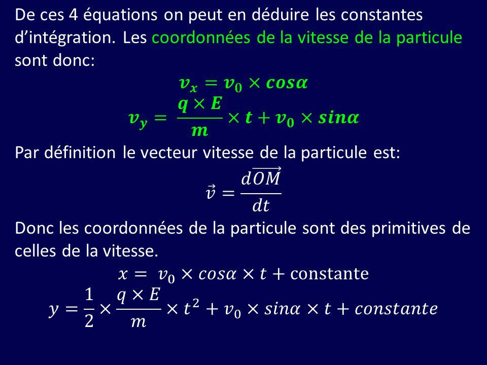 De ces 4 équations on peut en déduire les constantes d'intégration
