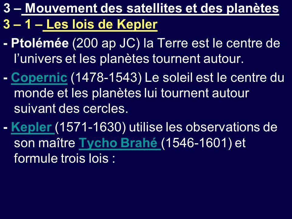 3 – Mouvement des satellites et des planètes