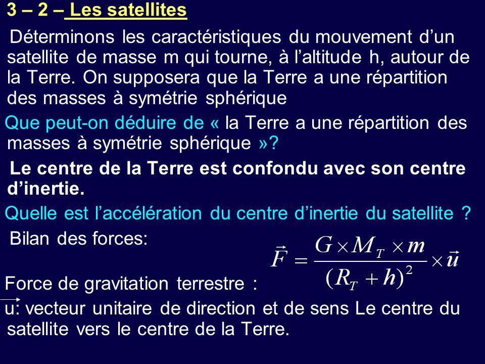 Déterminons les caractéristiques du mouvement d'un satellite de masse m qui tourne, à l'altitude h, autour de la Terre. On supposera que la Terre a une répartition des masses à symétrie sphérique
