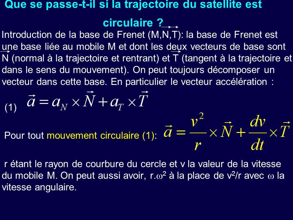 Que se passe-t-il si la trajectoire du satellite est circulaire