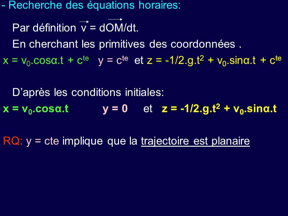 - Recherche des équations horaires: