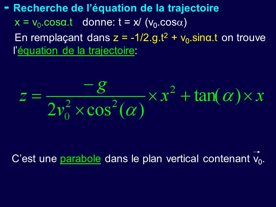 - Recherche de l'équation de la trajectoire