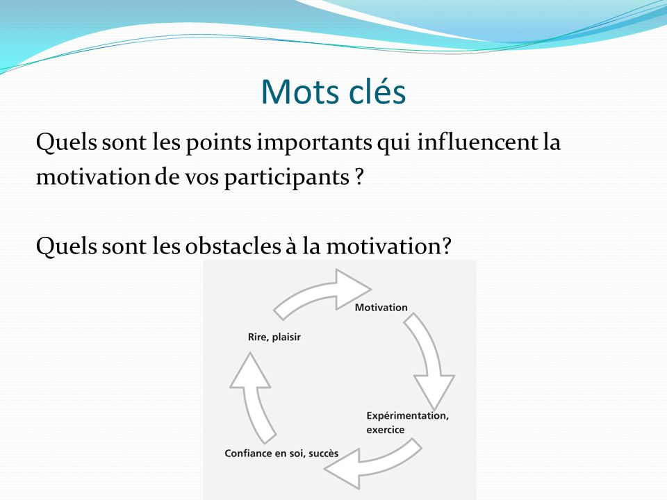 Mots clés Quels sont les points importants qui influencent la motivation de vos participants .