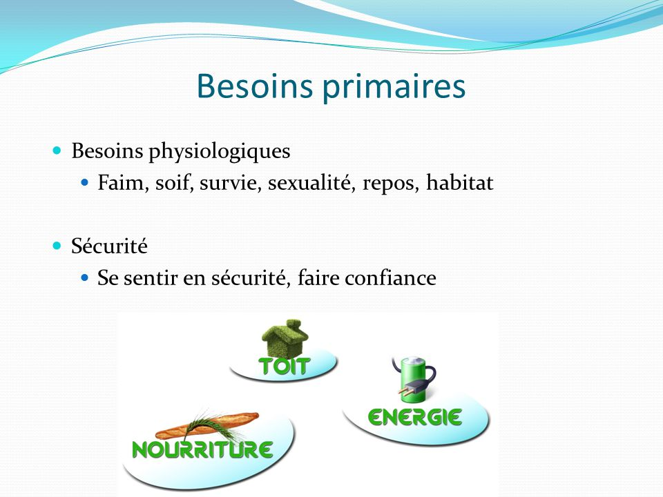 Besoins primaires Besoins physiologiques