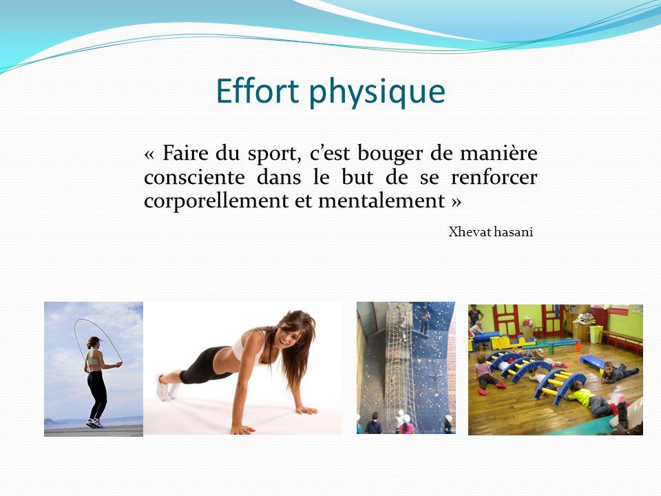 Effort physique « Faire du sport, c'est bouger de manière consciente dans le but de se renforcer corporellement et mentalement »