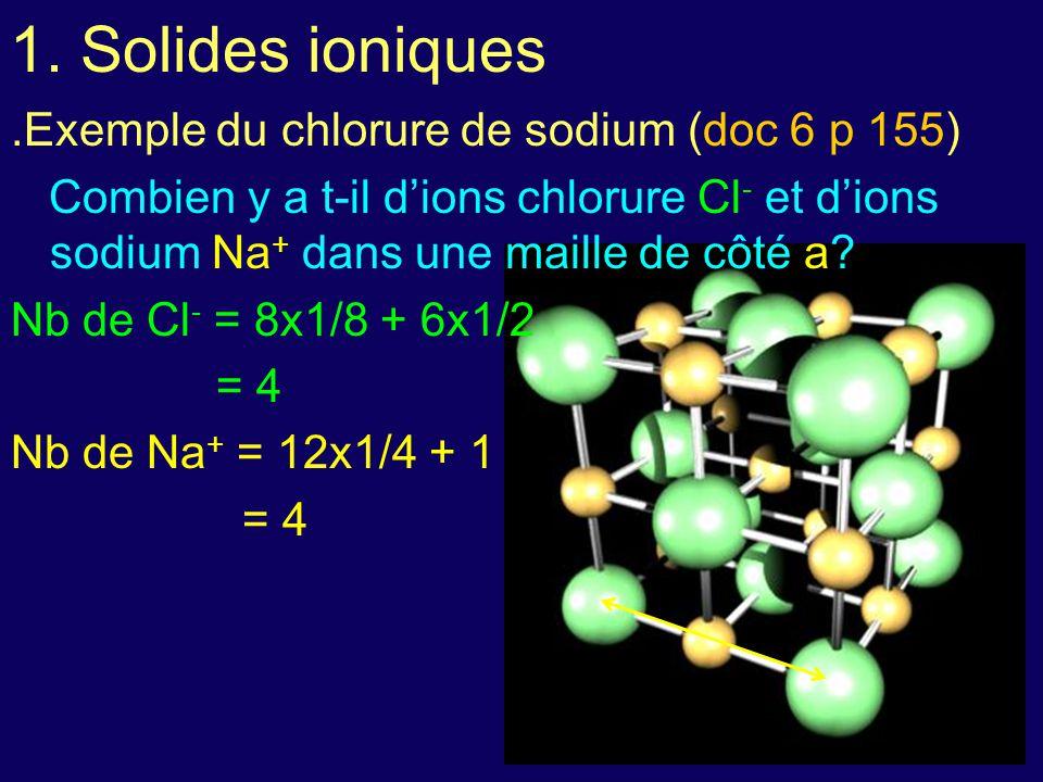 1. Solides ioniques .Exemple du chlorure de sodium (doc 6 p 155)