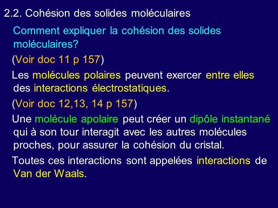 2.2. Cohésion des solides moléculaires