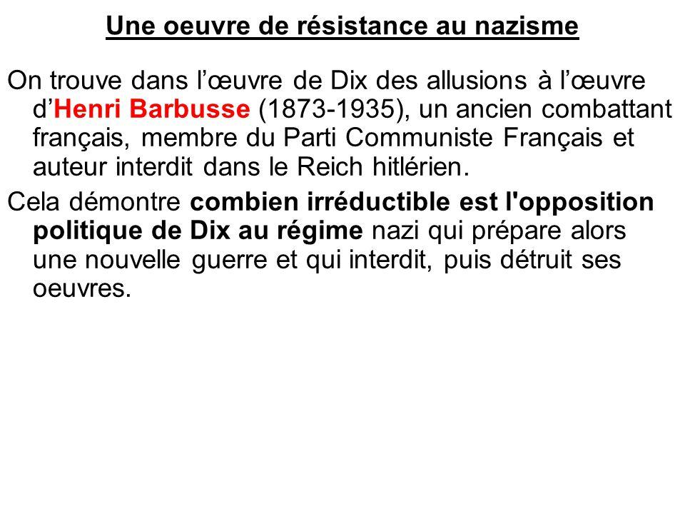 Une oeuvre de résistance au nazisme