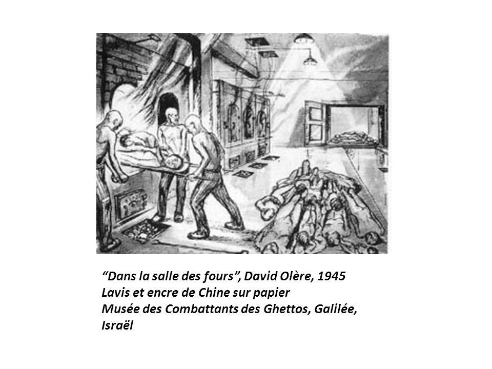 Dans la salle des fours , David Olère, 1945 Lavis et encre de Chine sur papier Musée des Combattants des Ghettos, Galilée, Israël