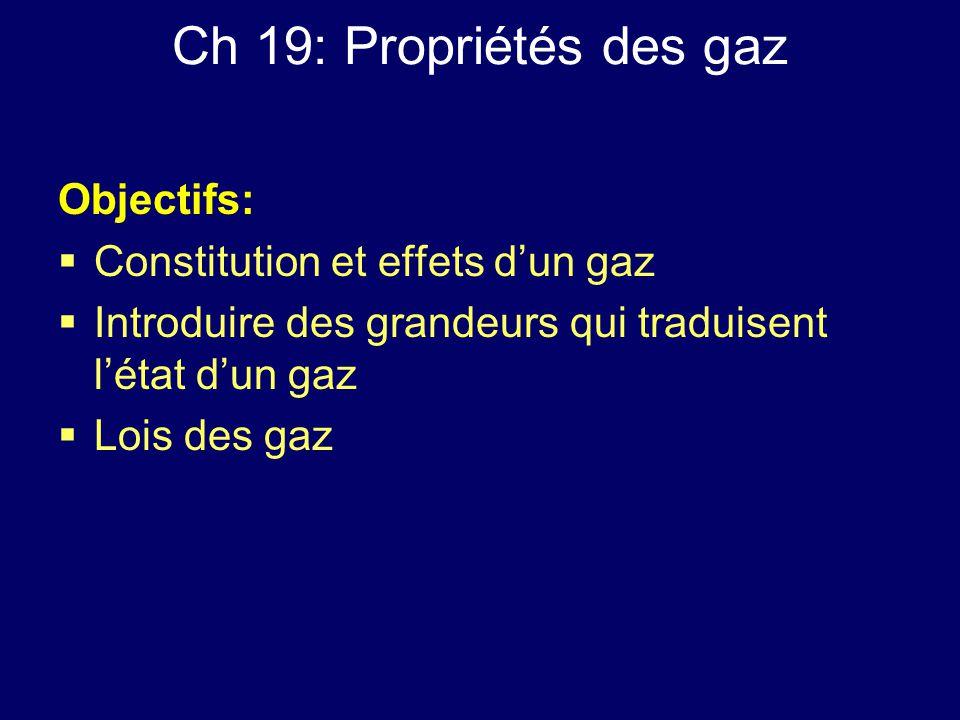 Ch 19: Propriétés des gaz Objectifs: Constitution et effets d'un gaz