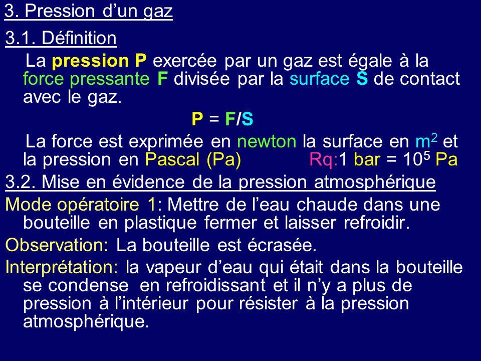 3. Pression d'un gaz 3.1. Définition.