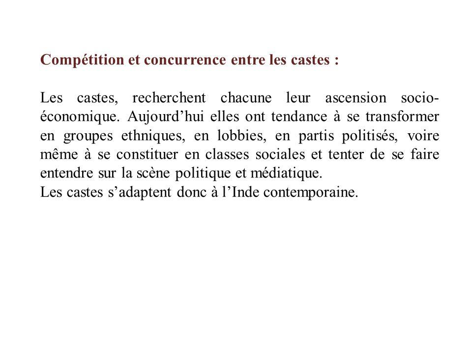 Compétition et concurrence entre les castes :