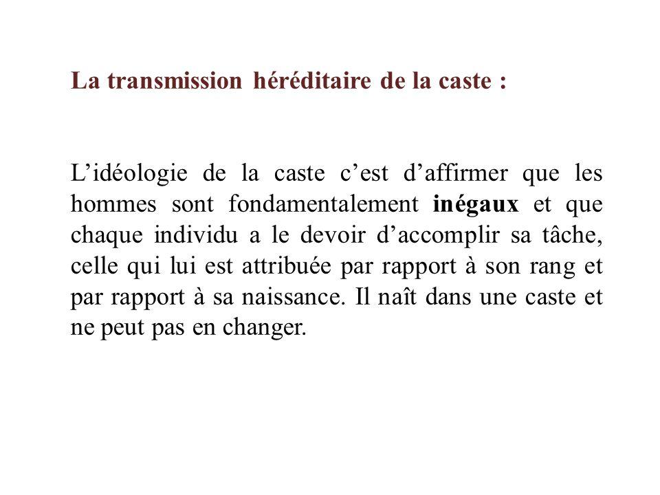 La transmission héréditaire de la caste :
