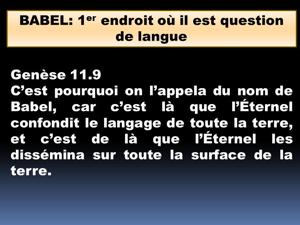 BABEL: 1er endroit où il est question de langue