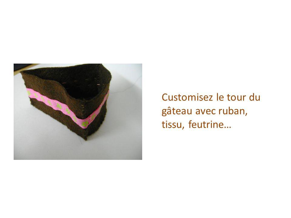 Customisez le tour du gâteau avec ruban, tissu, feutrine…