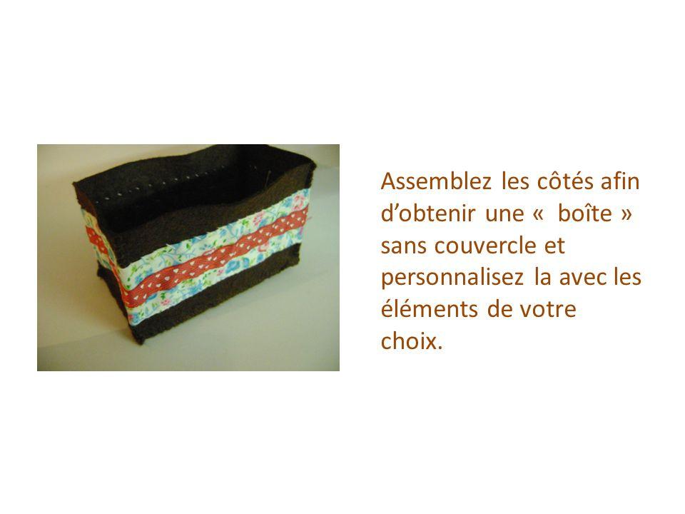 Assemblez les côtés afin d'obtenir une « boîte » sans couvercle et personnalisez la avec les éléments de votre choix.