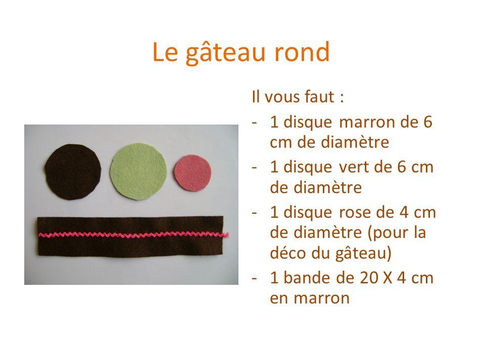 Le gâteau rond Il vous faut : 1 disque marron de 6 cm de diamètre