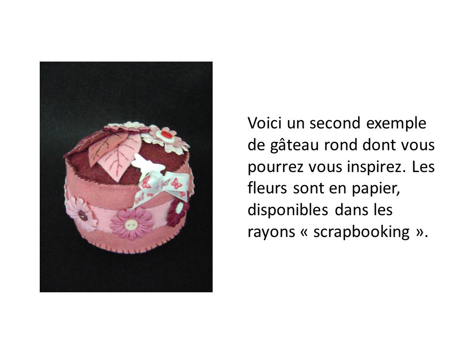 Voici un second exemple de gâteau rond dont vous pourrez vous inspirez