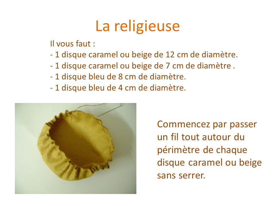La religieuse Il vous faut : 1 disque caramel ou beige de 12 cm de diamètre. 1 disque caramel ou beige de 7 cm de diamètre .