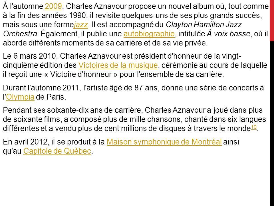 À l automne 2009, Charles Aznavour propose un nouvel album où, tout comme à la fin des années 1990, il revisite quelques-uns de ses plus grands succès, mais sous une formejazz.