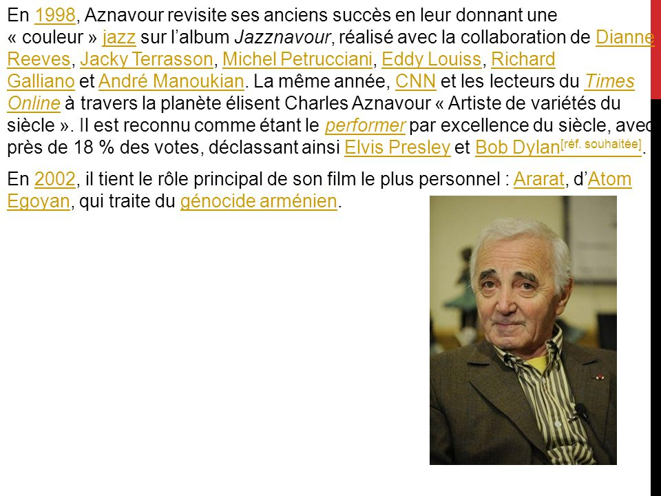 En 1998, Aznavour revisite ses anciens succès en leur donnant une « couleur » jazz sur l'album Jazznavour, réalisé avec la collaboration de Dianne Reeves, Jacky Terrasson, Michel Petrucciani, Eddy Louiss, Richard Galliano et André Manoukian.