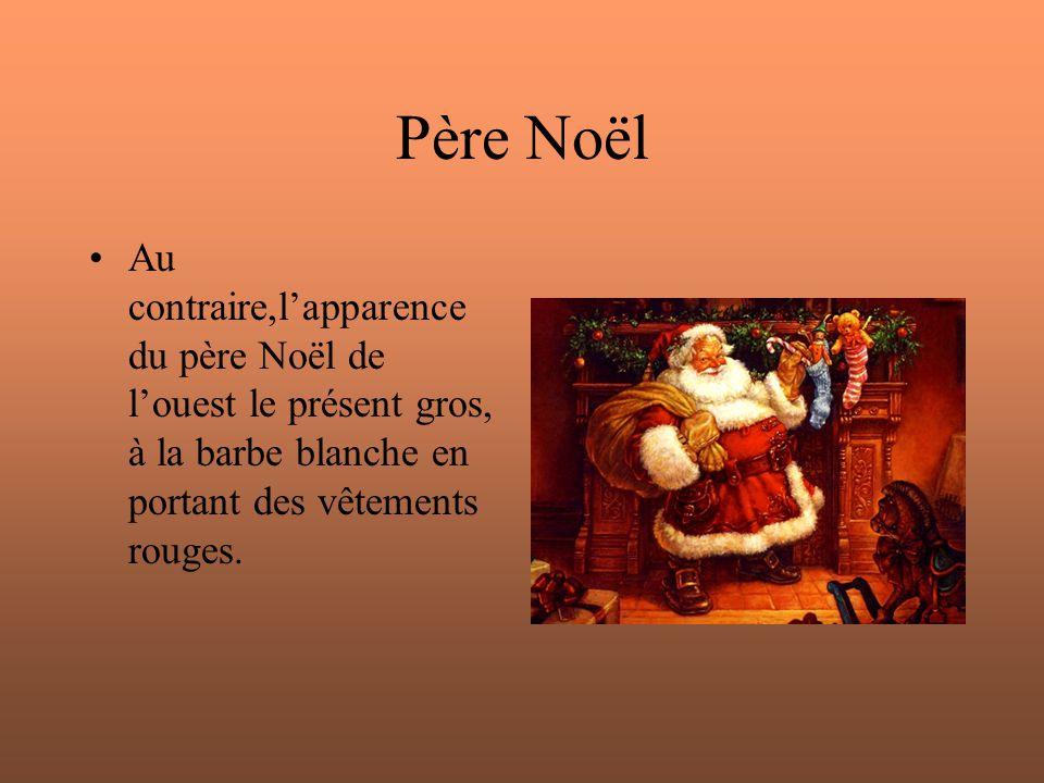 Père Noël Au contraire,l'apparence du père Noël de l'ouest le présent gros, à la barbe blanche en portant des vêtements rouges.