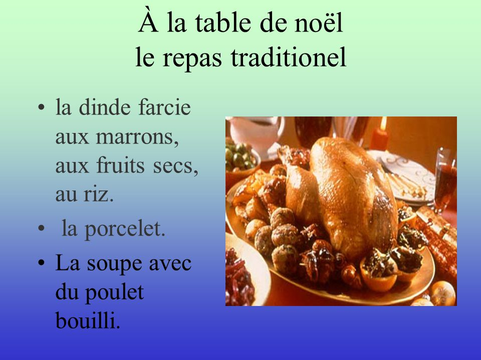 À la table de noël le repas traditionel