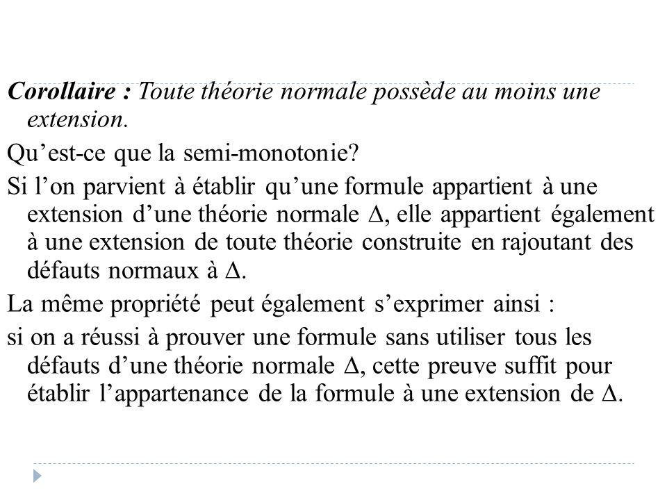 Corollaire : Toute théorie normale possède au moins une extension