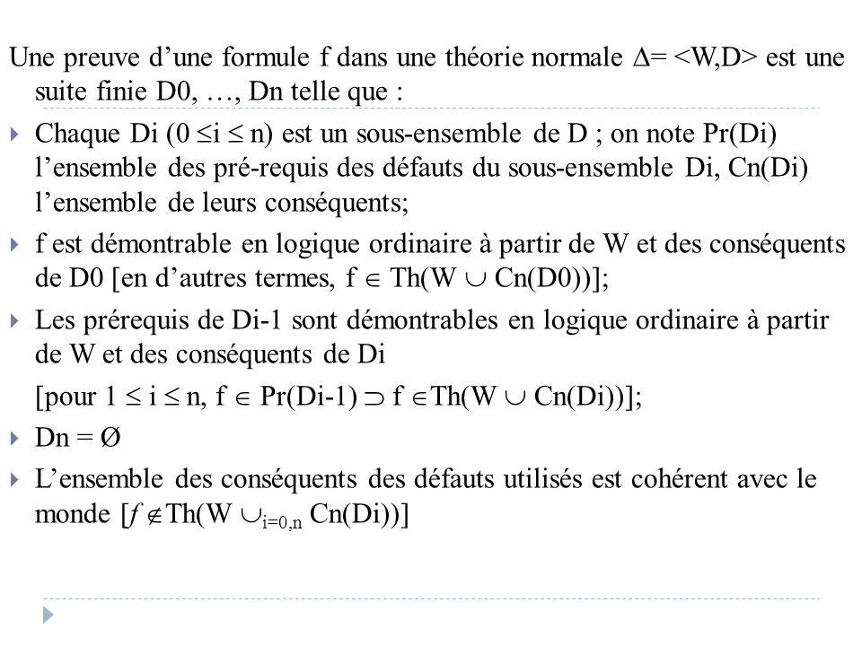 Une preuve d'une formule f dans une théorie normale = <W,D> est une suite finie D0, …, Dn telle que :