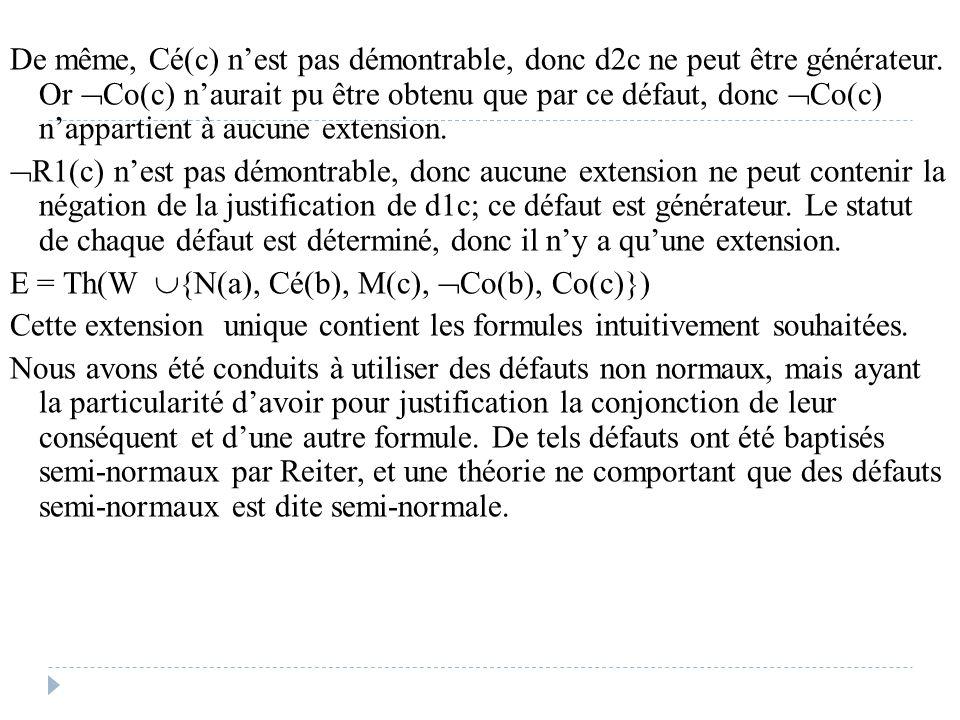 De même, Cé(c) n'est pas démontrable, donc d2c ne peut être générateur