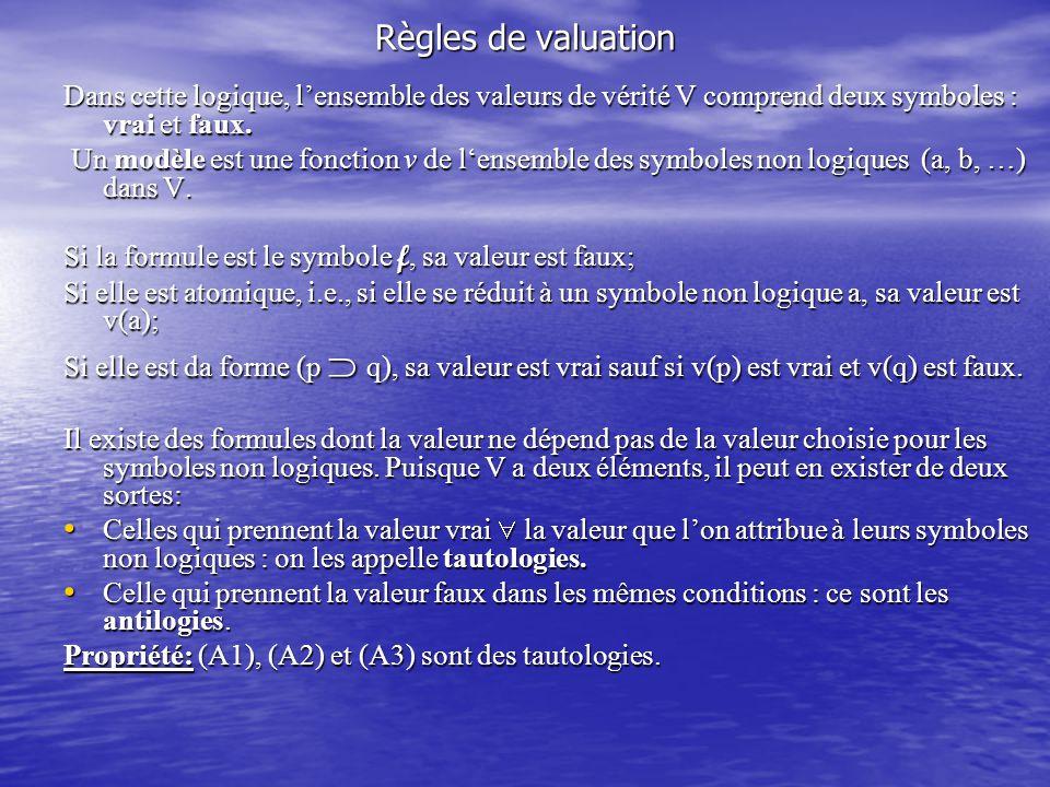 Règles de valuation Dans cette logique, l'ensemble des valeurs de vérité V comprend deux symboles : vrai et faux.